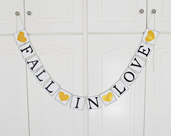 FREE SHIPPING, Fall in Love banner, Bridal shower banner, Wedding banner, Engagement party decoration, Bachelorette party decorations, Gold