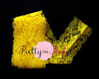 "YELLOW LACE ELASTIC 2""...Choose 3, 6 or 9 Yards of Premium Lace Elastic..2"" Lace Elastic..Lace Foe..Lace..Elastic..Lace Fabric...Headbands"