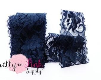 "BLACK LACE ELASTIC 2""...Choose 3, 6 or 9 Yards of Premium Lace Elastic...2"" Lace Elastic...Lace Foe..Lace..Elastic..Lace Fabric...Headbands"