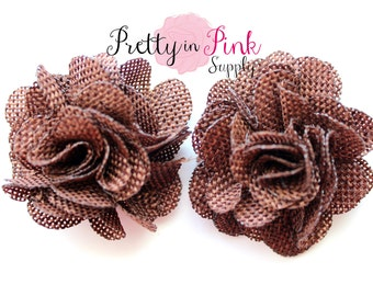 """BROWN Burlap Flowers- 2.5"""" Burlap Flower- You Choose Quantity- Fabric Flower- Flowers- Burlap Flower- Puff Flowers"""
