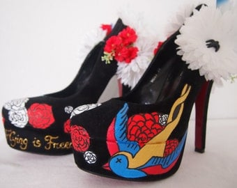 Hand painted high heels Zapatos de plataforma tacón