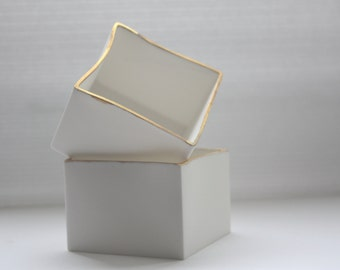 Big snow white cube made from fine bone china and real gold rims - geometric decor