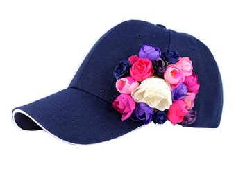 Basketball cap navy color / Roses Collection | casual | everyday | sport | flowers | unique