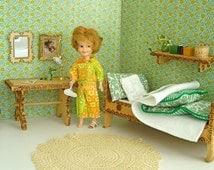 "VINTAGE 1:6 Scale, Flowery Green BEDROOM for 8-11"" dolls-Betsy McCall,Ginny, Riley Kish, Blythe"