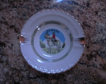 Vintage Canada RCMP China Ashtray with Gold Trim
