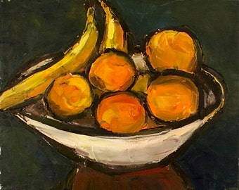 "Fruit Bowl - Oil Still Life Painting 16x20"" Original Artwork, kitchen art, impressionist"
