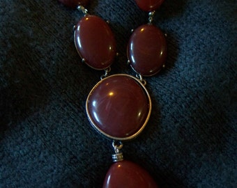 FREE SHIPPING in the U.S.--Chunky, Earthy, Brick-Red Necklace