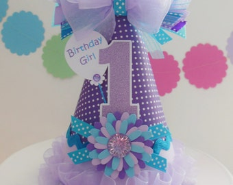 Purple and Aqua Sweetie - Under the Sea Birthday Party Hat -Aqua and Blue Flower- Personalized
