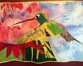 Flying Jewel Hummingbird with Cactus Flower Hanging Quilt