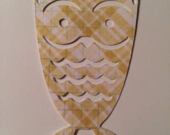 Yellow Plaid Owl Die Cut