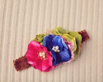 Colorful newborn headband, earthy newborn headband, newborn props