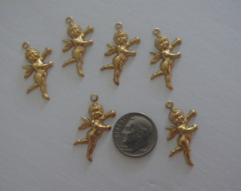 10 Brass Cherub Charms