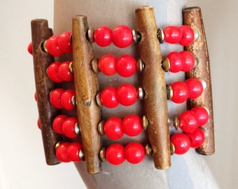 Coral and Wood Beaded Bangle Bracelet