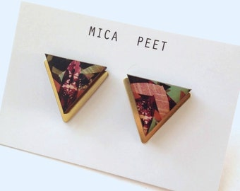 Statement Triangle / Geometric Earrings - Insect Patterned Laser Cut Wood & Brass Geometric Jewellery Triangle Jewellery