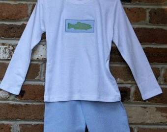 Trout patch applique shirt and shorts