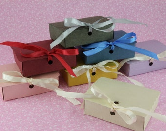 50 Rectangle Favor Box with Bow, Wedding, Bridal Shower, Baby Shower, Party Favor Gift.