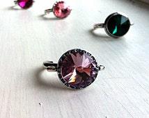 Lilac soft purple ADJUSTABLE large crystal ring