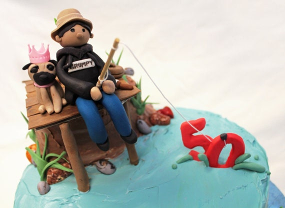 Fondant Fisherman Birthday cake topper or Groom's cake wedding cake topper