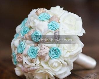 Aqua seashell wedding bouquet, pool blue beach bouquet, bridesmaid bouquet, beach wedding, rose bouquet with shells, sea shell bouquet