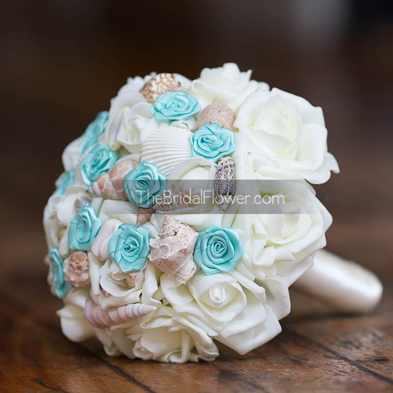 Pool Blue Wedding Bouquets : Aqua seashell wedding bouquet pool blue beach by