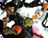 Halloween Jewelry - Monster Mash Bracelet - Handcrafted Lampwork Glass Beads & Sterling Silver - Mummy, Skull, Spider, And More! - LIMITED