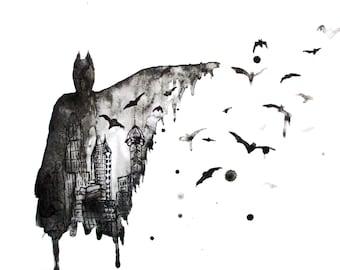 Painting of Batman, Dark Knight, Bruce Wayne - Art print - 11 x 17 - Black and White