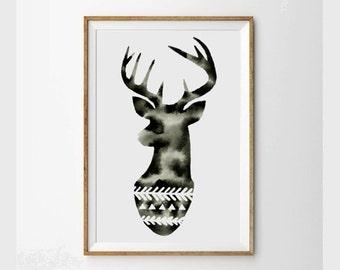 Large Original Watercolor . Deer Silhouette Art . Geometric Art . Chevron . Triangles . Graphic Black and White Art . Modern Painting