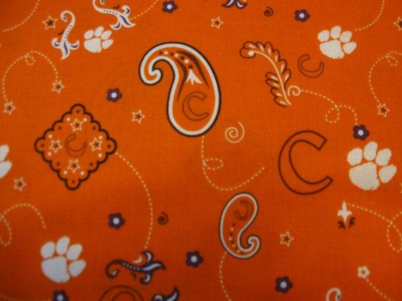 Clemson University Bandana Fabric Sold By The Yard Cut