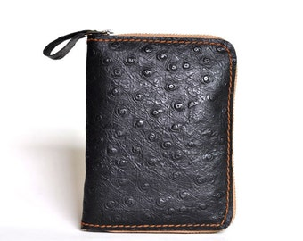 Genuine Leather wallet with lagre zipper-Men wallet-Ostrich embossed leather