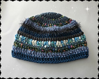 Serendipity Hat blue pink white fluffy fuzzy sparkle FUN oh so much texture and One Of A Kind