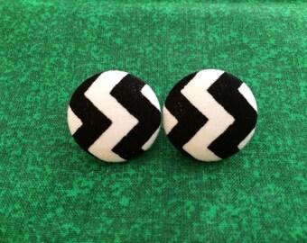 Black and White Chevron earrings