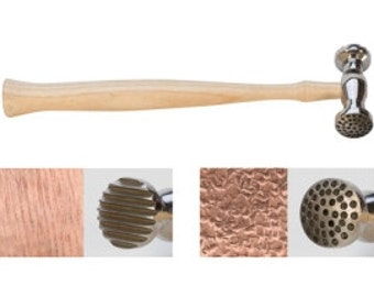 Dual Texture Hammer Dimples and Thin Stripes, Dimples/Narrow Stripe Texturing hammer, stamping tools, jewelry tools, metalforming tools