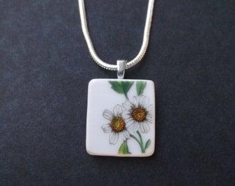 Broken Plate Necklace - Handmade White Flower necklace made from a recycled broken plate OOAK -- Pendant