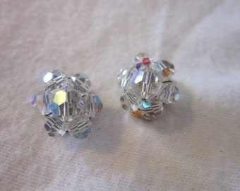Vintage Petite Aurora Borealis Cut Faceted Crystal Earrings Lovely