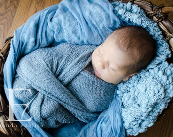 Denim Blue Cheesecloth baby & maternity wrap high grade, photography prop