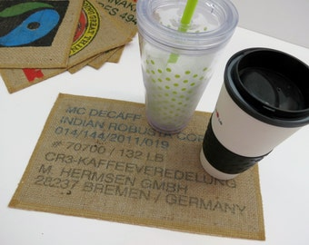Decaf Coffee Mug Rug, Burlap Coaster, Placemat, Upcycled Coffee Bag, Tableware, Kitchen, Office