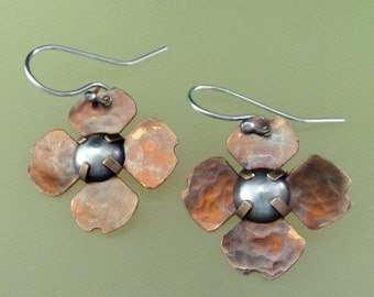Brass and Sterling Silver Petal Earrings