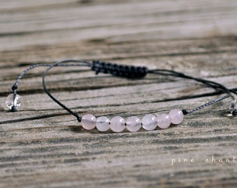 Rose Quartz, Love Meditation Bracelet, Good Luck, Minimalist Jewelry, Intent Bracelet, Yoga Bracelet, Fertility, Pregnancy, Bridal, Wedding