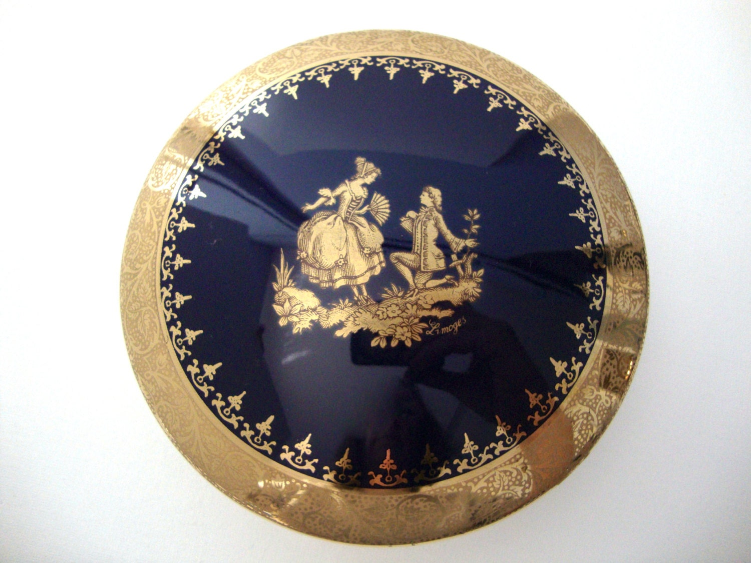vintage limoges veritable bleu de four porcelain box in cobalt. Black Bedroom Furniture Sets. Home Design Ideas