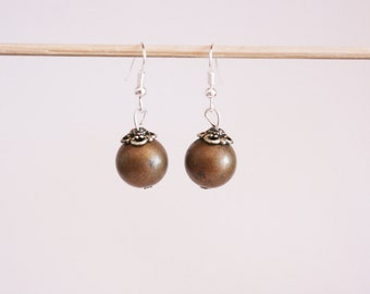 Olive & Silver Bead Earrings