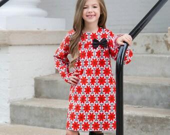 Adorable Girls Fall Dress - Long Sleeve Dress - Boutique Dress - Shift Dress -