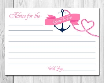 INSTANT DOWNLOAD Advice for the Bride - Nautical Theme - Nautical Bridal Shower - Pink and Navy - Printable