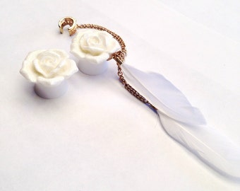 White Rose Ear Plugs with Feathers and Ear Cuff