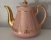 Vintage 1950s Hall Pink Gold Basket Design Teapot - EvelynandDot