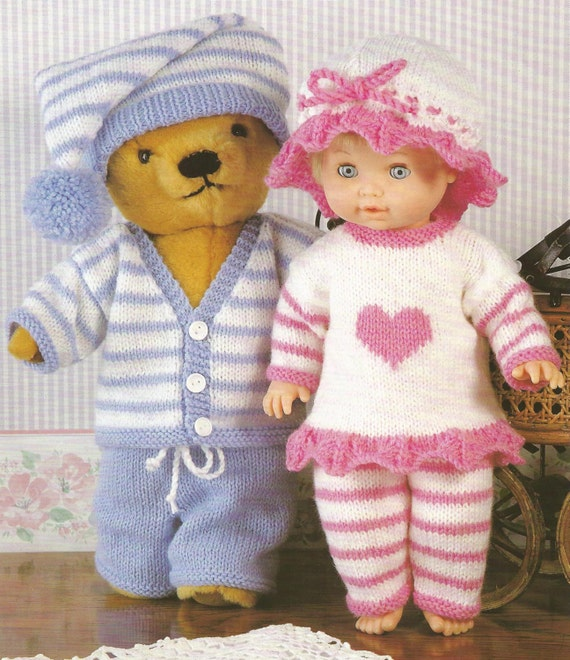 Knitting Patterns For Dolls And Teddy Bears : Teddy Bear and Doll Pyjama Party 12 22 ins PDF Knitting