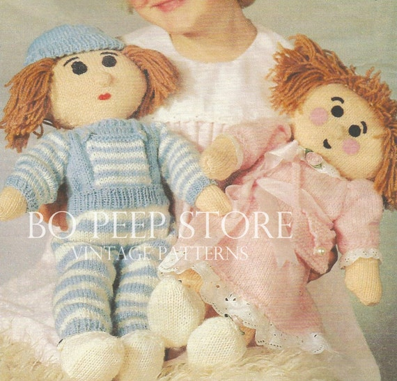 Boy and Girl Rag Doll to knit Toy knitting pattern DOWNLOAD