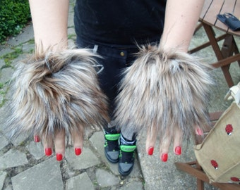 One Luxury Pair of Coyote Furry Wrist Cuffs Wristlets Cute Cosy Cosplay Elasticated Winter