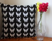 ON SALE: Handmade Black and White Cotton Butterfly Cushion Pillow With Zip Closure