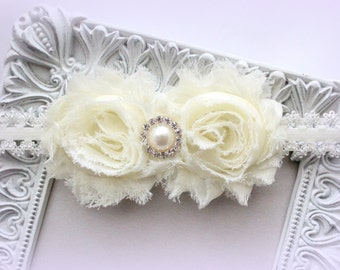 Shabby Flower Headband with Pearl & Rhinestone Center - Ivory Headband - Baby Headband, Newborn Headband, Sizes Newborn to Adult