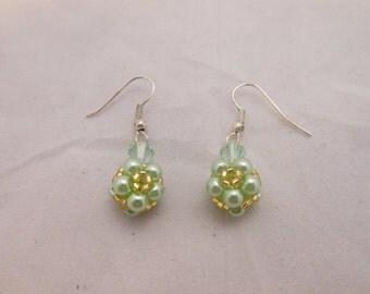 Beaded Green Flower Earrings